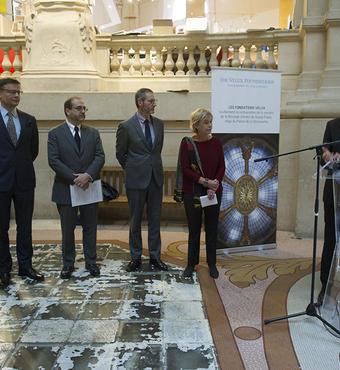 Michel Langrand, tidl. direktør for VELUX France, taler ved fremvisningen af den fuldt restaurerede glaskuppel den 30. oktober 2017