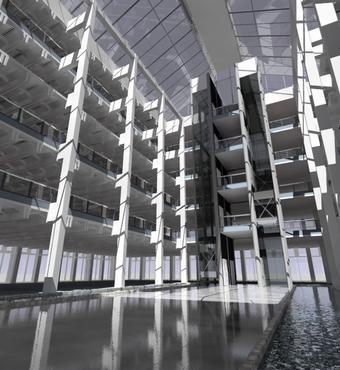 A daylight simulation of an atrium designed by Foggo Arch, UK. Credit: John Mardaljevic