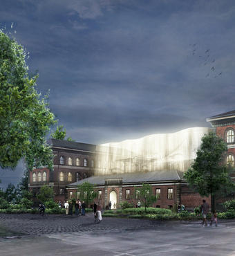 Hvalsalen kommer til at stå som et ikon for det nye museum. Her ses indgangen fra Sølvtorvet. Ill.: Lundgaard & Tranberg Arkitekter og arkitekt Claus Pryd